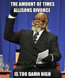 the amount of times allisons divorce