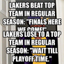 "Lakers beat top team in regular season: ""FINALS HERE WE COME!"""